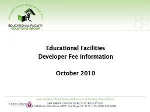 Educational Facilities Developer Fee Information October 2010 10312020
