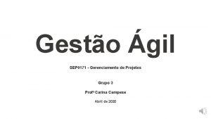 Gesto gil SEP 0171 Gerenciamento de Projetos Grupo