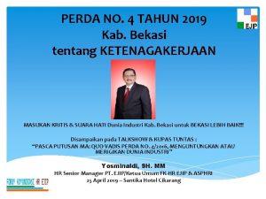 PERDA NO 4 TAHUN 2019 Kab Bekasi tentang