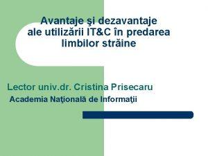 Avantaje i dezavantaje ale utilizrii ITC n predarea