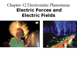 Chapter12 Electrostatic Phenomena Electric Forces and Electric Fields
