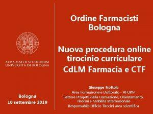 Ordine Farmacisti Bologna Nuova procedura online tirocinio curriculare
