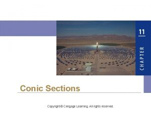 Conic Sections Copyright Cengage Learning All rights reserved