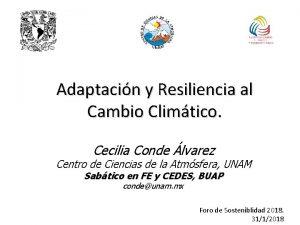 Adaptacin y Resiliencia al Cambio Climtico Cecilia Conde