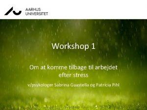 Workshop 1 Om at komme tilbage til arbejdet