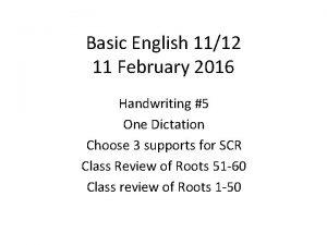 Basic English 1112 11 February 2016 Handwriting 5