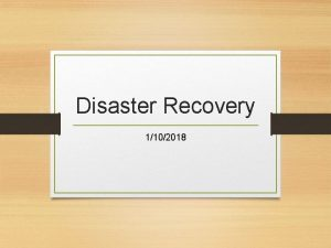 Disaster Recovery 1102018 COOP Disaster Recovery and Records