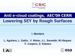 Anti ecloud coatings AEC 09 CERN Lowering SEY