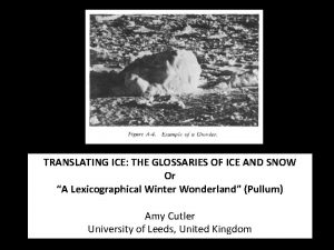 TRANSLATING ICE THE GLOSSARIES OF ICE AND SNOW