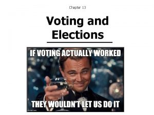 Chapter 13 Voting and Elections Voting Behavior Voting