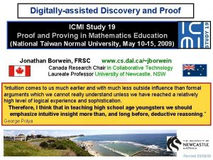 Digitallyassisted Discovery and Proof ICMI Study 19 Proof