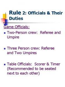 Rule 2 Officials Their Duties Game Officials n