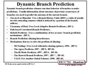 Dynamic Branch Prediction Dynamic branch prediction schemes runtime
