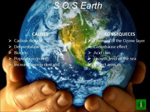 S O S Earth CAUSES Carbon dioxide Deforestation