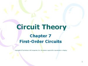 Circuit Theory Chapter 7 FirstOrder Circuits Copyright The