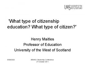 What type of citizenship education What type of