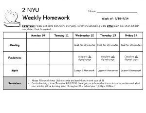 2 NYU Weekly Homework Name Week of 910