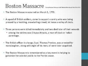 Boston Massacre Boston Massacre History com AE Television