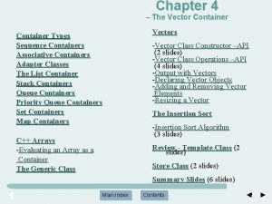 Chapter 4 The Vector Container Types Sequence Containers