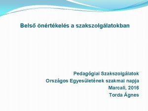 Bels nrtkels a szakszolglatokban Pedaggiai Szakszolglatok Orszgos Egyesletnek