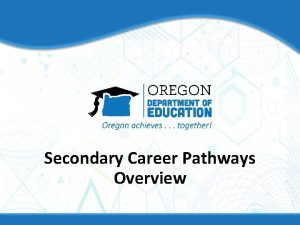 Secondary Career Pathways Overview Intent Incentivize Persistence in