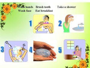 Wash hands Brush teeth Wash face Eat breakfast