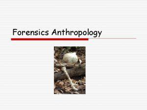 Forensics Anthropology Forensics Anthropology What is Forensics Anthropology