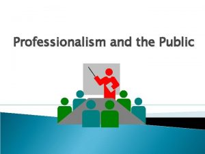Professionalism and the Public Myths the public and