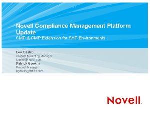 Novell Compliance Management Platform Update CMP CMP Extension