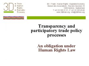 3 D Trade Human Rights Equitable Economy Maison