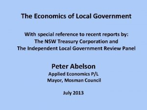 The Economics of Local Government With special reference