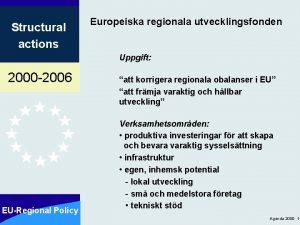 Structural actions Europeiska regionala utvecklingsfonden Uppgift 2000 2006