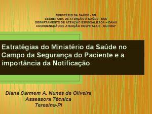 MINISTRIO DA SADE MS SECRETARIA DE ATENO SADE