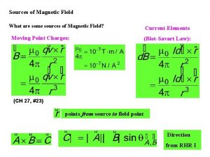 Sources of Magnetic Field What are some sources