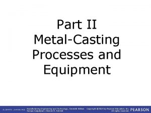 Part II MetalCasting Processes and Equipment Manufacturing Engineering