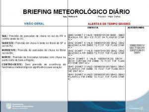 BRIEFING METEOROLGICO DIRIO Data 19082019 VISO GERAL Previsor