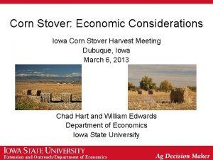 Corn Stover Economic Considerations Iowa Corn Stover Harvest