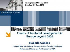 Interreg Annual Meeting 2016 Bruxelles 6 7 June