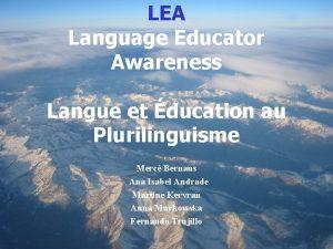 LEA Language Educator Awareness Langue et ducation au