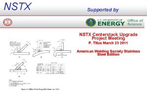 NSTX Supported by NSTX Centerstack Upgrade Project Meeting