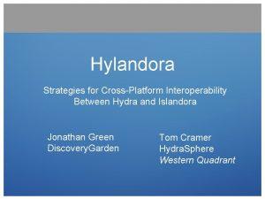 Hylandora Strategies for CrossPlatform Interoperability Between Hydra and