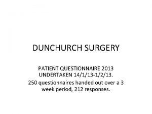 DUNCHURCH SURGERY PATIENT QUESTIONNAIRE 2013 UNDERTAKEN 14113 1213