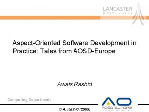 AspectOriented Software Development in Practice Tales from AOSDEurope