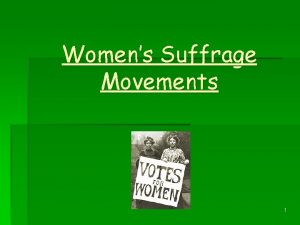 Womens Suffrage Movements 1 Aim of Lesson To