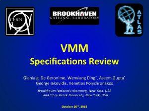 VMM Specifications Review Gianluigi De Geronimo Wenxiang Ding