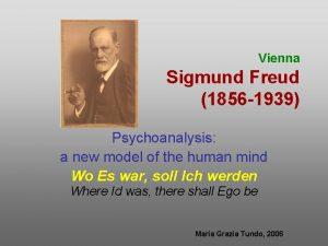 Vienna Sigmund Freud 1856 1939 Psychoanalysis a new