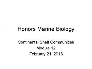 Honors Marine Biology Continental Shelf Communities Module 12