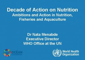 Decade of Action on Nutrition Ambitions and Action