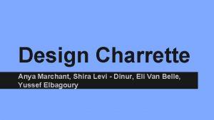 Design Charrette Anya Marchant Shira Levi Dinur Eli