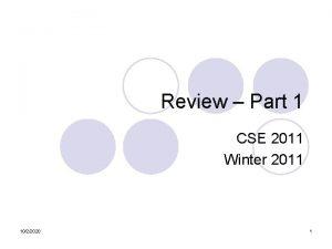 Review Part 1 CSE 2011 Winter 2011 1022020